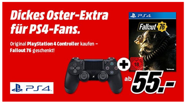 Bild zu SONY PlayStation 4 Wireless Dualshock 4 Controller (VG: 53,85€) inkl. Fallout 76 (VG 16,90€) für 55€