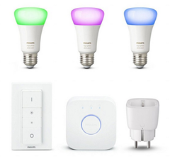Bild zu Philips Hue White and Color Ambiance E27 Starter Kit + Innr Smart Plug SP 120 für 133,95€ (Vergleich: 163,02€)