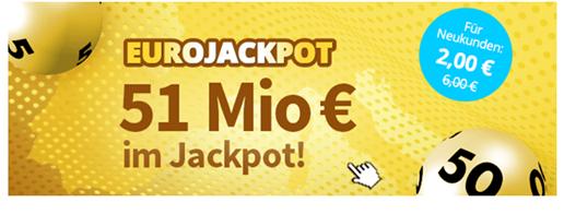 Bild zu Lottohelden Neukunden: 3 Felder EuroJackpot (88 Millionen) für 2€ anstatt 6€