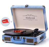 Bild zu dodocool Plattenspieler (RCA-Ausgang/ Kopfhöreranschluss/ SD-Eingang/ MP3/ Handy Musik-Wiedergabe, Jeans-Stil) für 41,99€