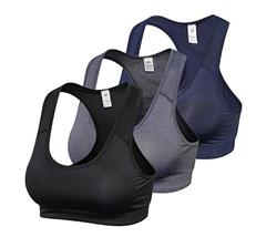 Bild zu Lixada gepolsterte Damen Sport-BHs im 3er Pack für 14,99€