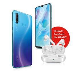 Bild zu Huawei P30 lite für 4,95€ mit gratis HUAWEI Freebuds lite im Blau.de (5GB LTE, SMS- + Sprachflat) oder o2 Free S (2GB LTE Free, SMS- + Sprachflat) für je 19,99€/Monat