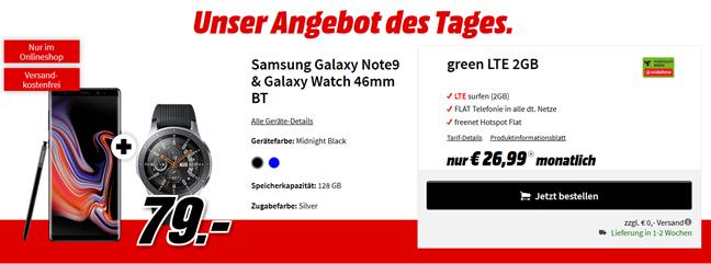 Bild zu Samsung Galaxy Note9 & Galaxy Watch 46mm BT für 79€ mit Vodafone 2GB LTE Datenflat und Sprachflat für 26,99€/Monat
