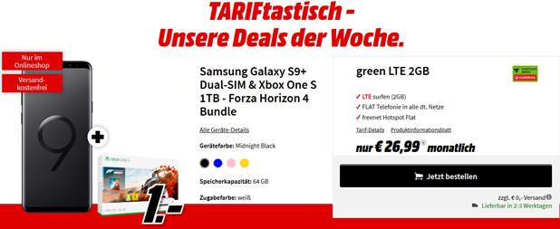 Bild zu SAMSUNG Galaxy S9+ Dual-SIM & Microsoft Xbox One S 1TB – Forza Horizon 4 Bundle für einmalig 1€ mit Vodafone Tarif mit 2GB LTE Daten, SMS und Sprachflat für 26,99€/Monat