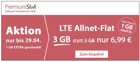 Bild zu [nur noch heute] PremiumSIM monatlich kündbaren Vertrag im o2-Netz mit 3GB LTE Datenflat, SMS und Sprachflat für 6,99€/Monat