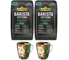 Bild zu 2 kg JACOBS Barista Editions Espresso Intense Ganze Bohne + 2 Ritzenhoff Becher für 19,99€