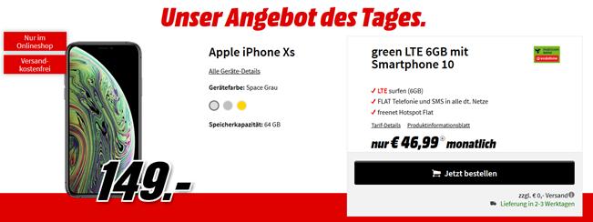 Bild zu Apple iPhone XS für 149€ mit 6GB LTE Vodafone Flat, SMS und Sprachflat für 46,99€/Monat