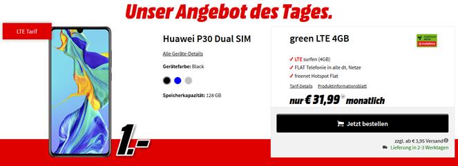 Bild zu Huawei P30 Dual SIM für 1€ mit 4GB LTE Datenflat und Sprachflat im Vodafone-Netz für 31,99€/Monat