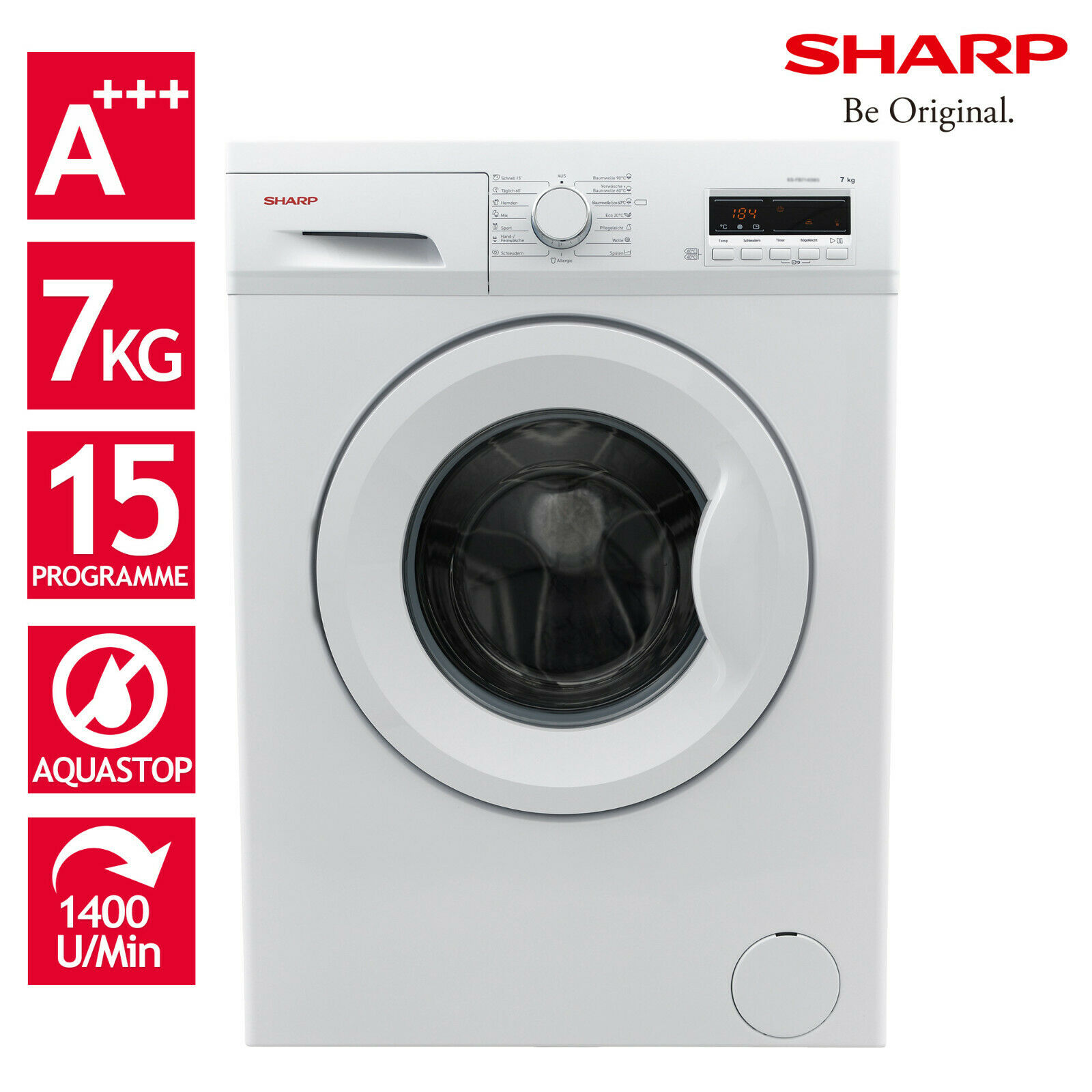Bild zu 7 kg Waschmaschine Sharp ES-FB7143W3A-DE für 286,99€ (Vergleich: 333,90€)