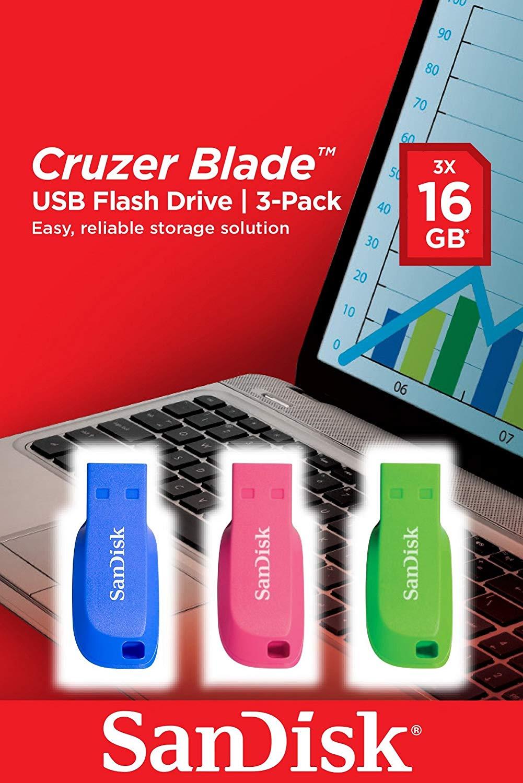 Bild zu SANDISK Cruzer Blade 3er Pack USB-Sticks (Blau/Pink/Grün, 16 GB) für 9,99€ (Vergleich: 12,99€)