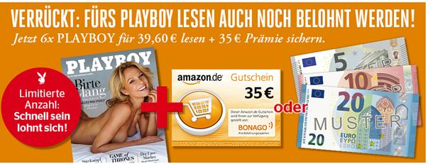 Bild zu 6 Ausgaben Playboy für 39,60€ inkl. 35€ Amazon Gutschein/35€ Scheck oder Bulldog Gin 1l