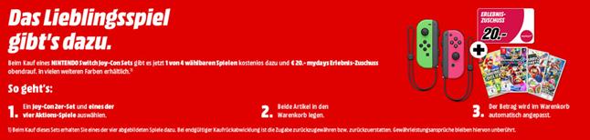Bild zu Nintendo Switch Joy Con Set + 1 von 4 wählbaren Spielen + 20€ MyDays Gutschein für 100,99€ inkl. Versand
