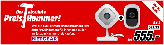 Bild zu Arlo Pro2 IP Kamera + ARLO Arlo Q für 555€ (Vergleich: 659,02€)