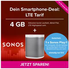 Bild zu [Knaller] Sonos Play 1 für 25€ (Vergleich: 168,95€) mit o2 Tarif (6 Monate Mindestlaufzeit) mit 4GBLTE, SMS und Sprachflat für 14,99€/Monat (124,93€ Gesamtkosten für Play1 und Tarif)