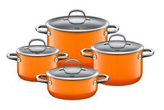 Bild zu Silit Passion Orange Topfset 4-teilig mit Glasdeckel (induktionsgeeignet) für 214,95€ (Vergleich: 249,99€)