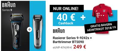 Bild zu Braun Rasierer Series 9 – 9242s + Barttrimmer BT5090 + Bayern Heimtrikot 2018/2019 für 249€ + 40€ Cashback (Vergleich: 312,88€)