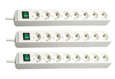 Bild zu 3er Pack BRENNENSTUHL Eco-Line Steckdosenleiste mit Schalter 8-fach weiß für 19,87€ (Vergleich: 27,06€)
