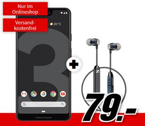 Bild zu [Knaller – nur noch 3 Stück] Google Pixel 3 XL (VG: 612,05€) & Sennheiser Kopfhörer CX6 (VG: 71€) für 79€ mit LTE Tarif im Vodafone-Netz (6GB Daten, SMS + Allnet) für 21,99€/Monat