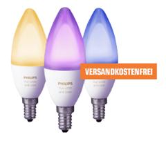 Bild zu Philips Hue White & Color Ambiance 6,5W E14 3er Pack für 95€ (Vergleich: 112,09€)