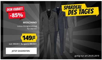 Bild zu [wieder da] SportSpar: MOSCHINO Herren Luxus Designer Anzug für je 149,49€ (Vergleich: 203,99€)