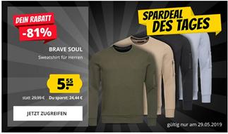 Bild zu SportSpar: BRAVE SOUL Jacob Crew Neck Zip Pocket Herren Sweatshirt für je 5,55€ zzgl. 3,95€ Versand