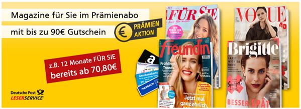 """Bild zu [Super] Deutsche Post Leserservice: Frauen-Zeitschriften Jahresabos mit bis zu 90€ Prämie, so z.B. """"Für Sie"""" für 65,80€ mit 70€ Otto.de Gutschein"""