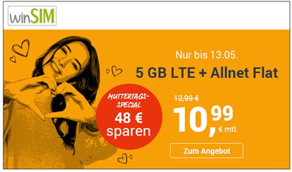 Bild zu winSIM: Allnet-Flat mit 5GB LTE Datenflat und SMS für 10,99€/Monat + aktuell 0€ Anschlussgebühr (sonst 9,99€)