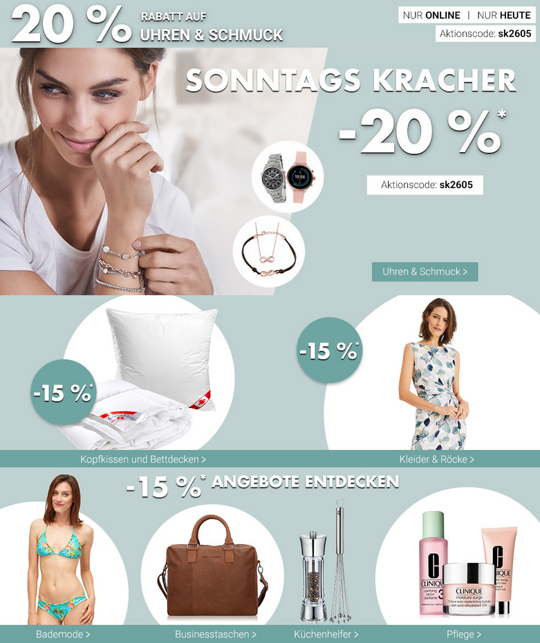 Bild zu Karstadt SonntagsKracher, z.B. 20% Rabatt auf Uhren und Schmuck
