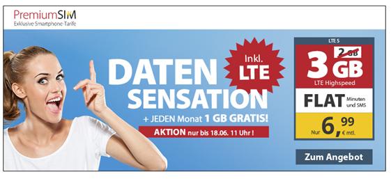 Bild zu PremiumSIM monatlich kündbaren Vertrag im o2-Netz mit bis zu 3GB LTE Datenflat, SMS und Sprachflat für 6,99€/Monat
