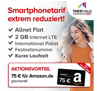 Bild zu [Knaller] 2GB LTE Datenflat, SMS Flat und Sprachflat im o2 Netz für 9,99€/Monat (6 Monate Mindestlaufzeit) inkl. 75€ Amazon.de Gutschein + 1. Jahr Chip e-Paper