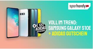 Bild zu Samsung Galaxy S10e (einmalig 4,95€) + 120€ adidas Gutschein mit o2 Blue All-in M mit 6GB LTE Daten, SMS Flat, Sprachflat, EU Flat für 24,99€/Monat
