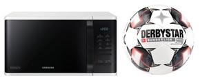 Bild zu Samsung MG23K3513AW Mikrowelle mit 800W + Derbystar Bundesliga Brillant APS Fußball für 95,27€ (Vergleich: 168,57€)