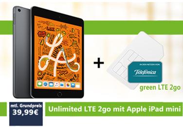 Bild zu Apple iPad mini (2019) 64GB WiFi + 4G space grau (VG: 536,73€) für 69,99€ mit Datenflat Unlimited im o2 Netz für 39,99€/Monat