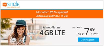 Bild zu sim.de: Allnet Flat mit 4GB LTE Datenflat sowie SMS Flat im o2 Netz für 7,99€/Monat (oder monatlich kündbar für 9,99€/Monat)