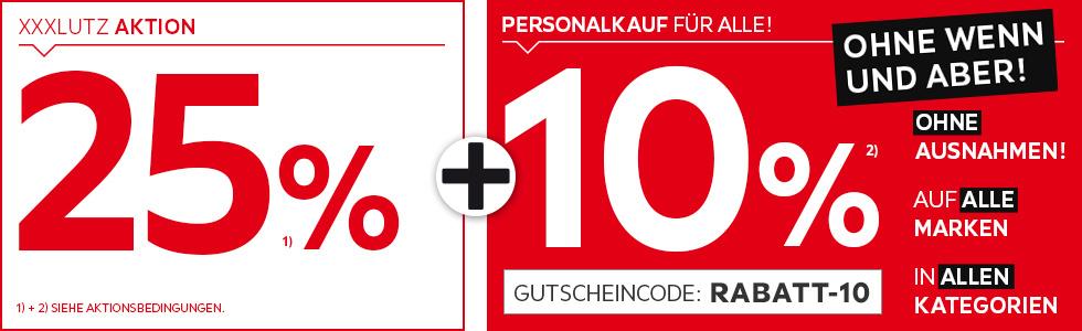 Bild zu XXXLutz Online-Shop: 25% Rabatt-Aktion plus weitere 10% Rabatt auf viele Artikel aus dem Sortiment