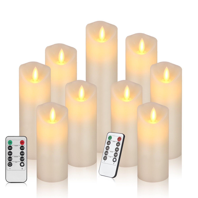 Bild zu 9er Set realistisch flackernde LED-Kerzen mit Fernbedienung mit 24 Stunden Timer für 26,39€