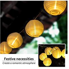Bild zu ANEAR Solar Lichterkette Lampions (IP65–für Außen) mit 20 Lampen für 11,39€