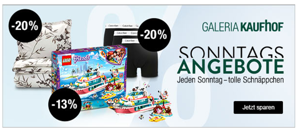 Bild zu Galeria Kaufhof Sonntags-Angebote, so z.B. 13% Rabatt auf das gesamte Spielwaren-Sortiment oder 20% auf Jack Wolfskin etc.