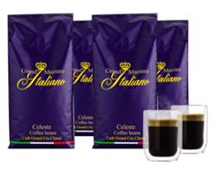 Bild zu Grand Maestro Italiano Celeste Kaffeebohnen (4 kg) + 2 doppelwandige Kaffeegläser (130 ML) für 29,99€