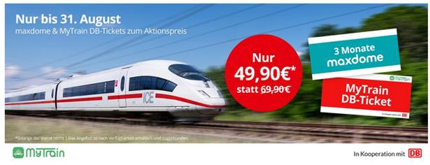 Bild zu MyTrain: 3 Monate Maxdome und eine einfache Fahrt mit der DB (ICE etc.) für 49,90€ oder zwei einfache Fahrten inkl. 6 Monate Maxdome für 69,90€