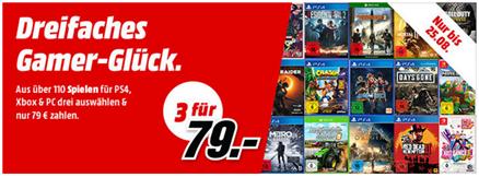 Bild zu MediaMarkt: 3 Games (PS4, Xbox, Nintendo oder PC) für 79€