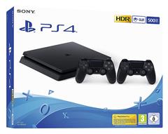 Bild zu PlayStation 4 Slim Konsole (500GB, schwarz, F-Chassis) inkl. 2 DualShock 4 Controller für 233,91€ (Vergleich: 299,99€)