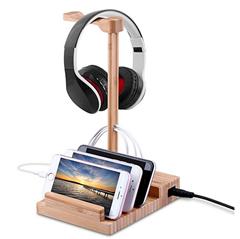 Bild zu Docooler Kopfhörer Ständer aus Holz mit USB 3.0 Ladegerät (3 Ports) für 15,99€