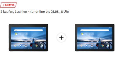 Bild zu [Doppelpack] 2 x LENOVO TAB E10 WIFI, Tablet , 16 GB, 10.1 Zoll, Slate Black für 149€