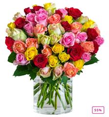 """Bild zu Blume Ideal: Blumenstrauß """"Romantic-Rainbow"""" mit 44 bunten Rosen für 24,98€"""