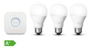 Bild zu Philips Hue White Starter Set mit 3 Glühlampen + Bridge für 59,98€ (Vergleich: 78,80€)