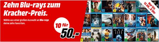 Bild zu MediaMarkt: 10 Blu-rays für 50€ zzgl. max. 4,99€ Versand