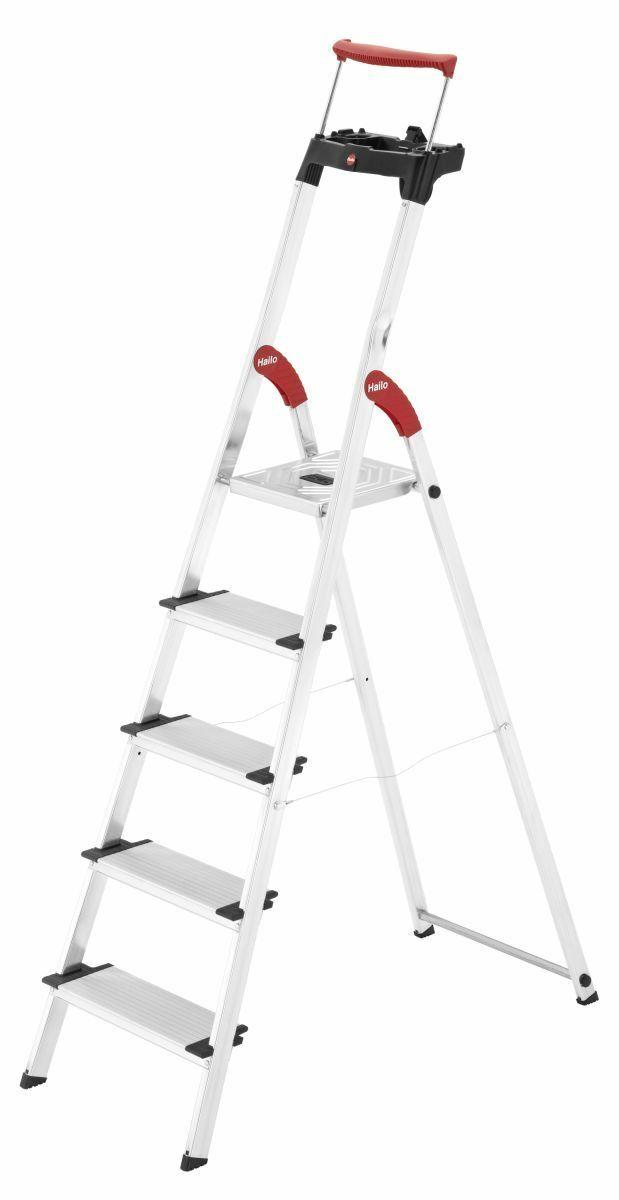 Bild zu Hailo XXR 5 Stufen Alu-Sicherheits-Haushaltsleiter für 59,99€ (Vergleich: 69,99€)