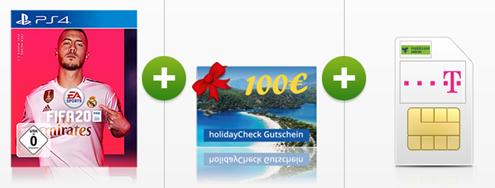 Bild zu 4GB Telekom LTE Datenflat inkl. EU-Roaming für 8,99€ oder die 10GB Telekom für 11,99€ pro Monat inkl. 100€ Holidaycheck Gutschein sowie FIFA20 für die PS4
