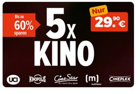 Bild zu REWE: 5 x KINO Ticket (CineStar, Cineplex, UCI, Kinopolis und Mathäser) für 29,90€